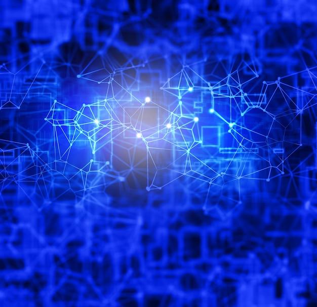 Абстрактный цифровой низкополигональный фон с соединительными линиями и точками