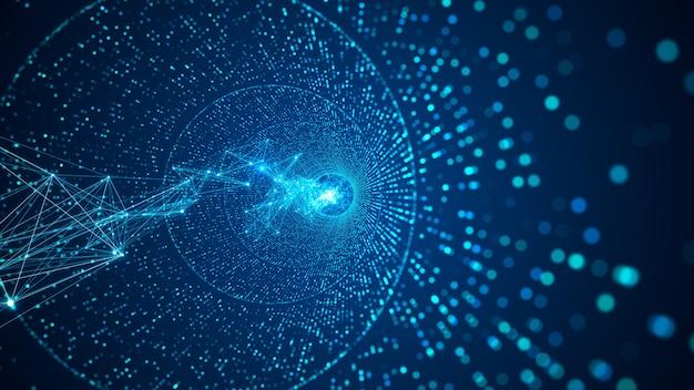 抽象的なデジタルネットワークの背景。デジタルノードで作られたデジタルデータトンネル。ネットワーク、ビッグデータ、データセンター、サーバー、インターネット、速度のためのラインと未来技術の抽象的な背景。