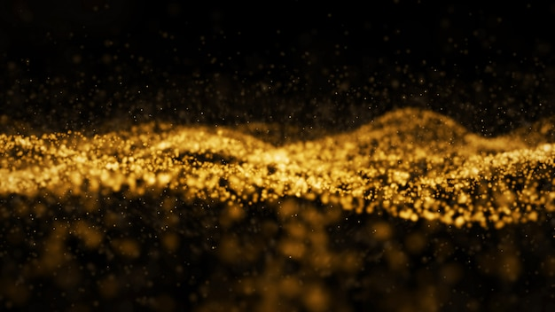 Abstract digital transformation golden color wave particles