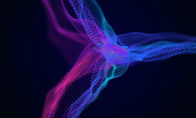 Abstract digital wave background colorful cyber particles