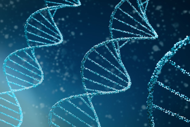 Abstract dna medical background. 3d illustration of double helix blue dna molecules uses in technology such as bioinformatics, genetic engineering, dna profiling (forensic science) and nanotechnology