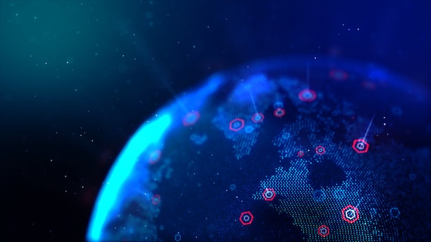 Abstract dot blue world map with hexagon shape for a cyber futuristic concept shallow depth of field