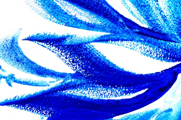 Abstract drawing brush in the form of leaves blue paint