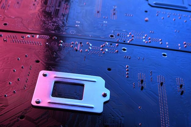 抽象電子回路基板、コンピューターのマザーボードラインおよびコンポーネント