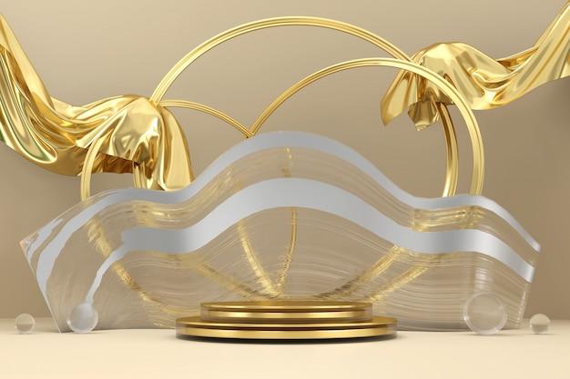 추상 우아함 럭셔리 황금 무대 플랫폼, 광고 제품 디스플레이, 3d 렌더링.