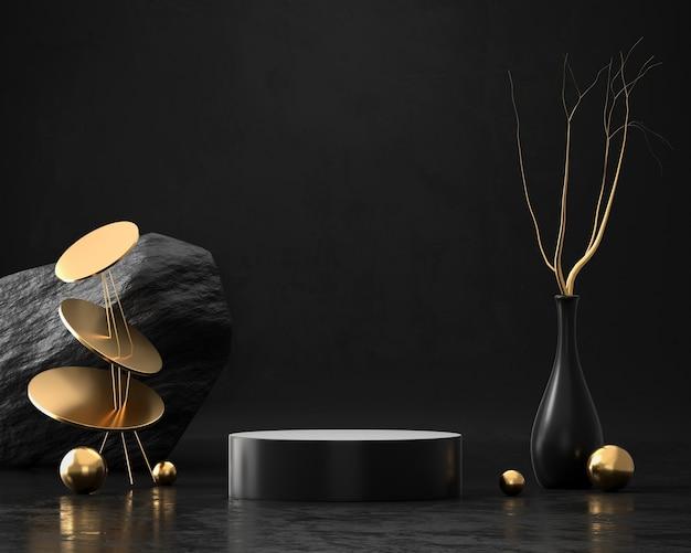 Абстрактная элегантность роскошный золотой подиум 3d-рендеринга