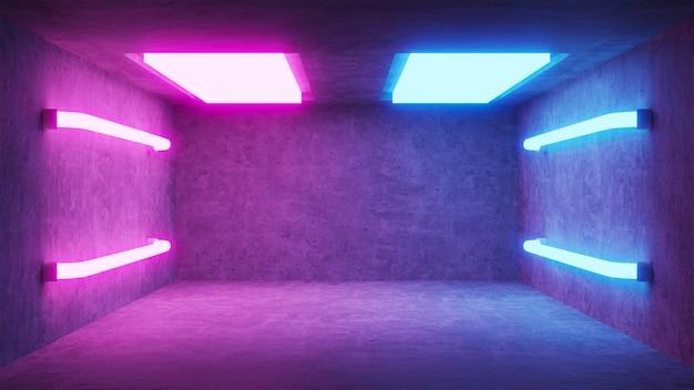 Абстрактная пустая бетонная комната с неоновыми лампами
