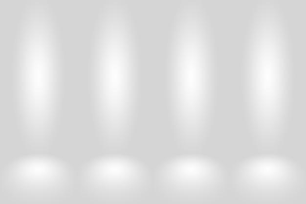 Абстрактный пустой темно-белый серый градиент с черной твердой виньеткой, освещающей студийную стену и пол бак ...