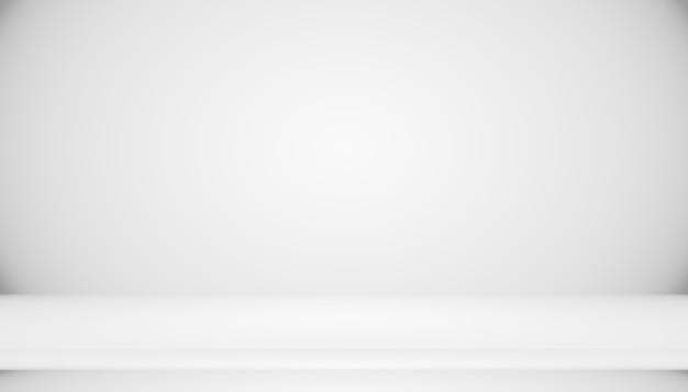 검은색 단색 비네트 조명 studio 벽 및 바닥 배경이 있는 추상 빈 어두운 흰색 회색 그라데이션은 배경으로 잘 사용됩니다. 텍스트와 그림을 위한 공간이 있는 배경 빈 흰색 방.