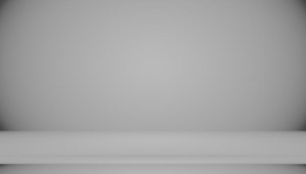 黒の無地のビネット照明スタジオの壁と床の背景との抽象的な空のダークホワイトグレーのグラデーションは、背景としてよく使用されます。あなたのテキストと画像のためのスペースと背景の空の白い部屋
