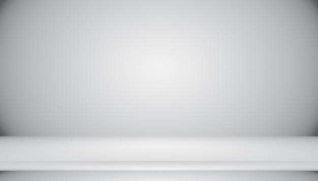 Gradiente grigio bianco scuro astratto vuoto con illuminazione a vignetta solida nera da parete e pavimento da studio...