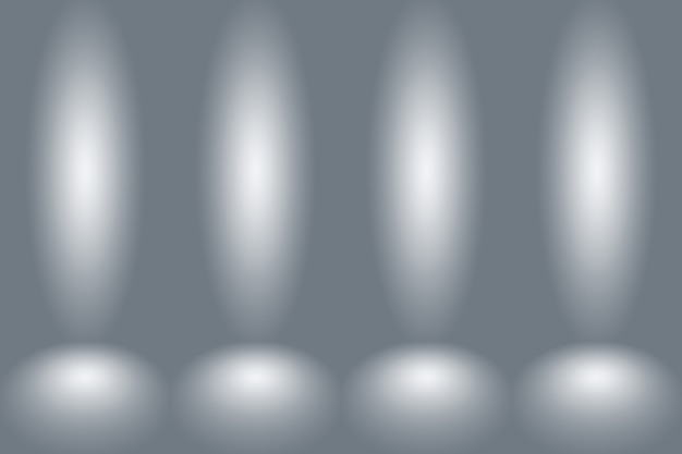 Abstract empty dark white grey gradient with black solid vignette lighting studio wall and floor bac...