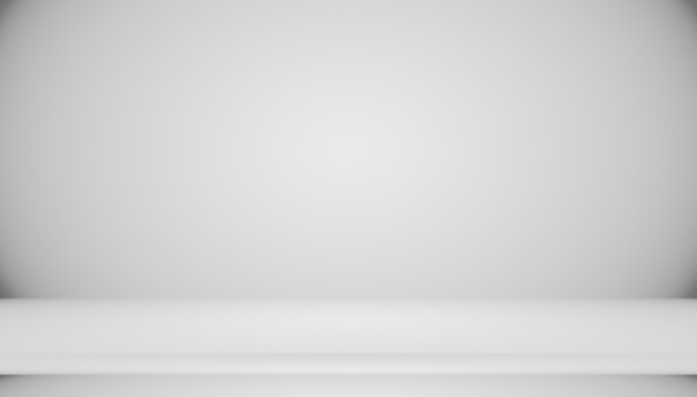 Abstract empty dark white grey gradient with black solid vignette lighting studio wall and floor background well use as backdrop. background empty white room with space for your text and picture.