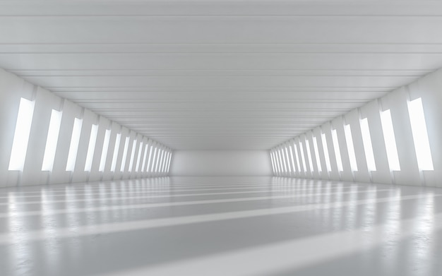 Abstract empty illuminated corridor interior design. 3d rendering.
