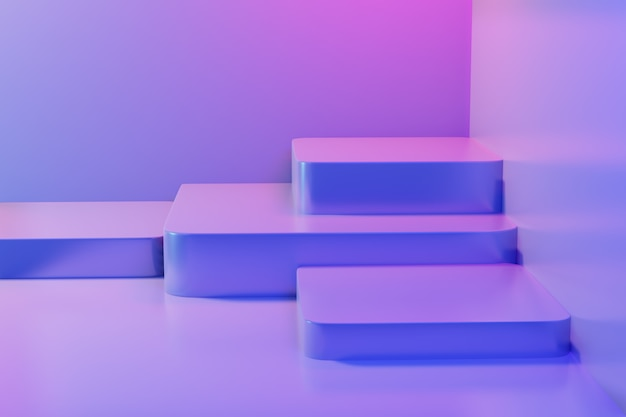 Abstract empty pedestal in blue pink vibrant light stage minimal background for present content advertising banner product
