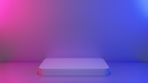 Abstract empty pedestal in blue pink vibrant light stage for present content advertising banner product mockup