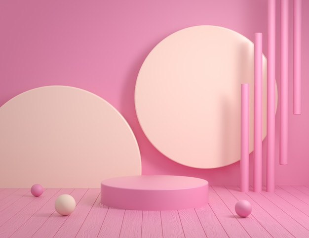 Abstract empty pink podium background with wood floor 3d render