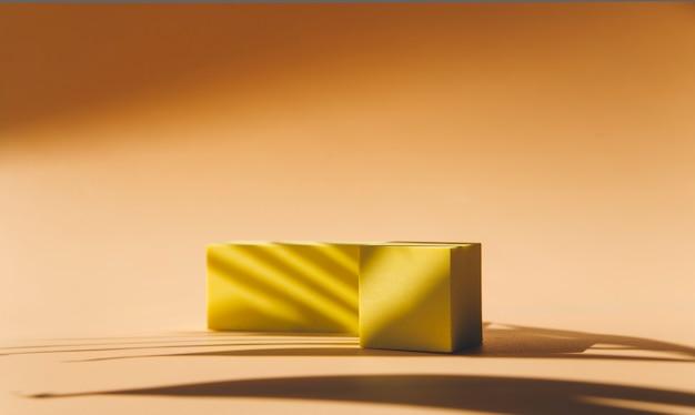 製品の3dレンダリングのための抽象的な空の表彰台最小限の概念
