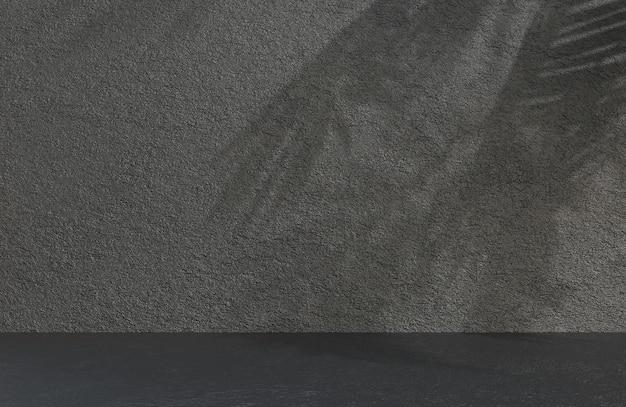 Абстрактная пустая комната черная каменная стена фоновый стиль текстуры гранж., 3d модель и иллюстрация.