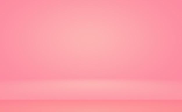 추상적으로 비어 있는 부드러운 밝은 분홍색 스튜디오 룸 배경은 제품 디스플레이 배너 온도를 위한 몽타주로 사용됩니다.