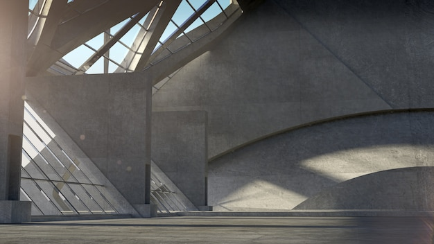 Abstract empty space concrete room interior, modern architecture background. 3d rendering