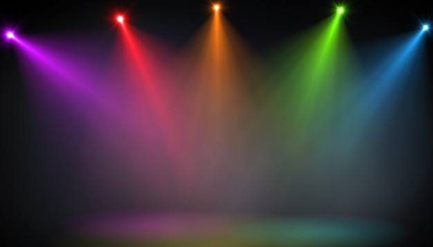 Abstract of empty stage with colorful spotlights