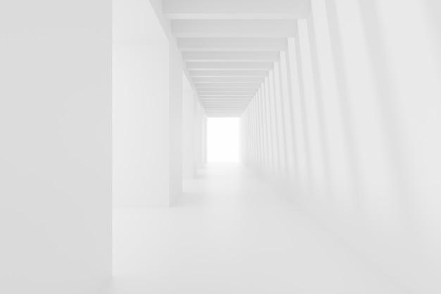 Аннотация пустой белый коридор. будущий интерьер фон. 3d визуализация