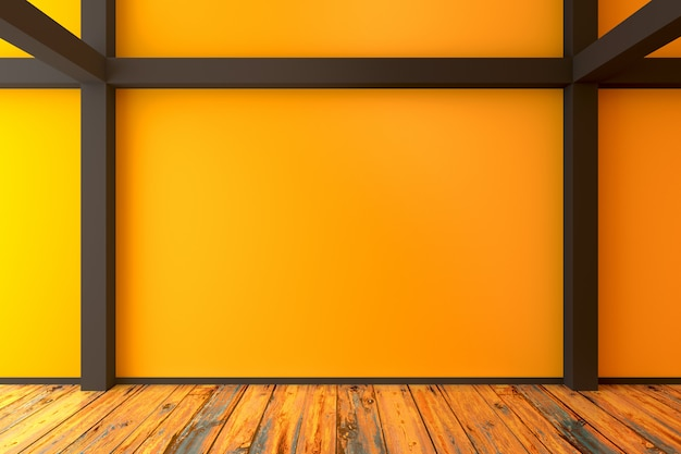 Abstract empty yellow room - loft concept - 3d illustration background