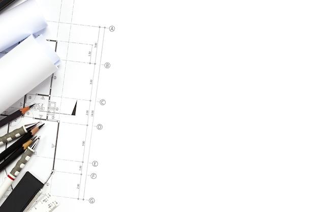 Абстрактные инженерные чертежи фон с пустым для вашего слова. инструменты для строительства с пустым пространством на столе.