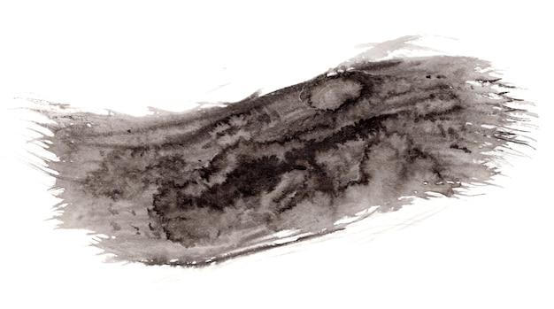 抽象的な表現力豊かなテクスチャブラックインクまたは水彩画の裏地付きステイン、大きなブラシストローク