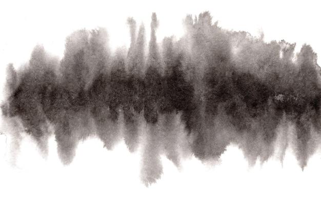 抽象的で表現力豊かなウェットブラーブラックインクまたは水彩水平ステイン