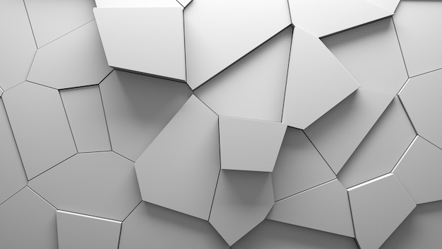 Abstract extruded voronoi blocks background. minimal light clean corporate wall. 3d geometric surface illustration. polygonal elements displacement.