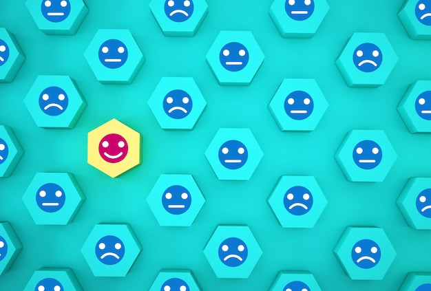Abstract of face emotion happiness and sadness, unique, think different, individual and standing out from the crowd . wooden hexagon with icon on blue background.