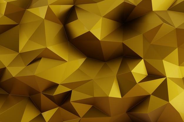 抽象的な多面的な三角形の幾何学的な金色の背景。インテリア デザインの現代的なパターン、42 メガピクセル。 3 d レンダリング