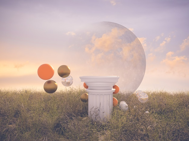 Abstract fantasy scene with pillar and balls.