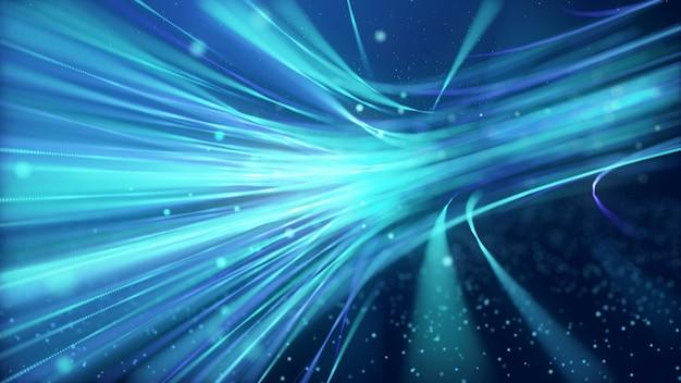 추상 빠르게 움직이는 빛나는 네온 입자 생성 푸른 빛 곡선 라인 모션, 디지털 미래 인터넷 데이터 속도 배경 개념