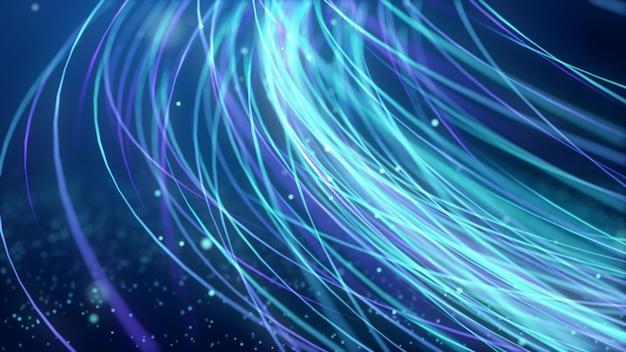 抽象的な動きの速い輝くネオン粒子は、青い光度曲線の動き、デジタルの未来的なインターネットデータ速度を作成しました