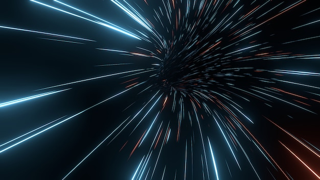 輝く光フレアと抽象的な動きの速いストライプライン。