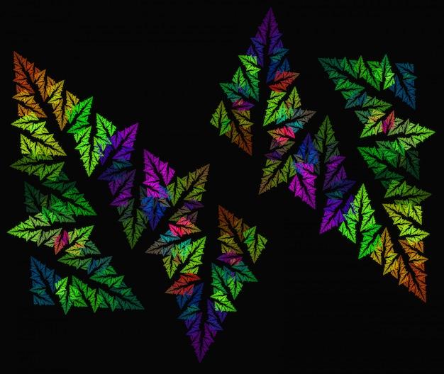 Abstract fern leaf  fractal  on the black