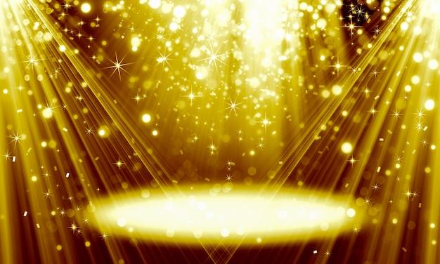 きらめくボケ粒子と明るい光線で作られた抽象的なお祭りの金色の背景