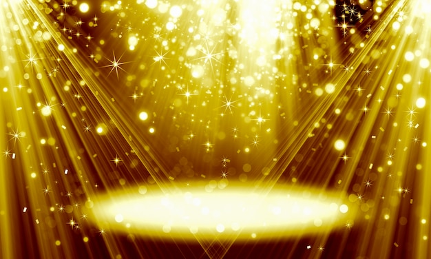 Abstract festive golden background made of sparkling bokeh particles and bright rays