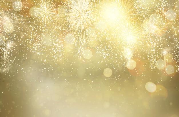 花火とボケライトで抽象的なお祭りの冬のきらびやかなボケ背景