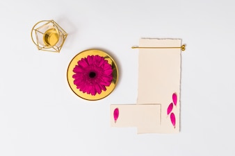 Abstract figures near set of papers and fresh flower