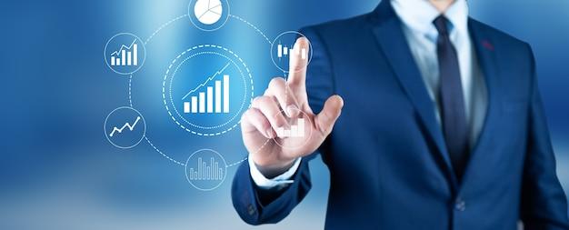 추상 금융 개념, 성장과 함께 성공적인 주식 시장