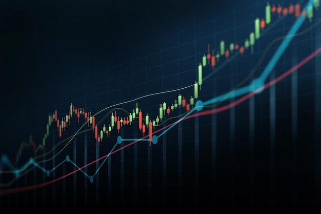 Abstract financial graph with up trend line candlestick chart in stock market on blue color background