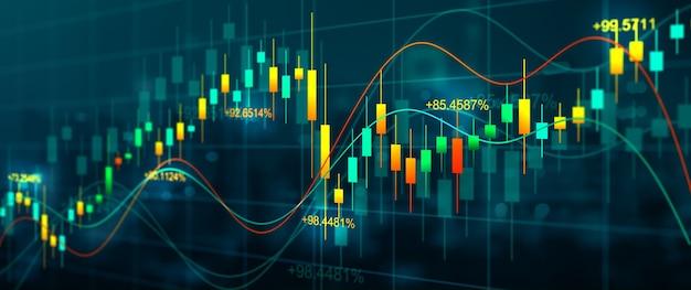 디스플레이 무역 및 투자 개념에 추상 금융 거래 그래프