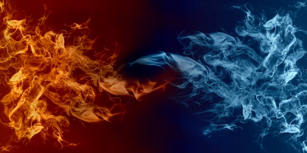 Abstract fire and ice element. heat and cold concept