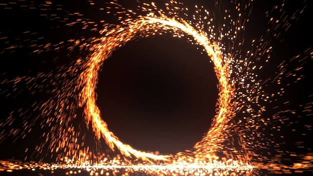 Abstract fire ring of fire flame fireworks burning. sparking fire circle pattern or cold fire or fireworks in black background. 3d illustration