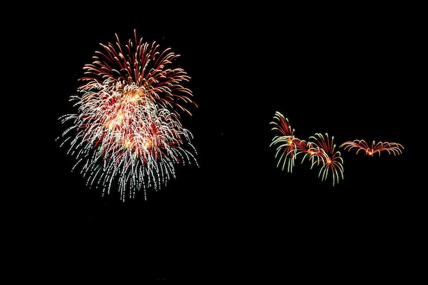 Abstract fireworks light up the dark sky
