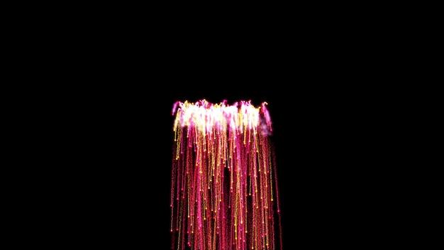 밝은 빛의 검은 배경 분수에 추상 불꽃놀이